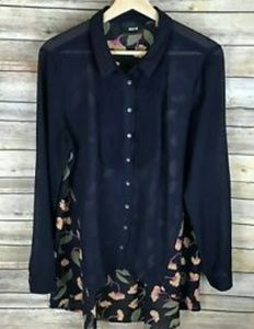 Anthro Maeve navy/ floral burton down blouse sz 4